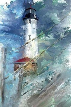 ♡ palette knife painting of stormy lighthouse.