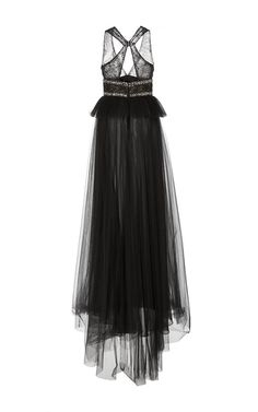 Peplum Gown with Layered Tulle Skirt by Monique | Moda Operandi