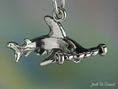 Hammerhead Shark Charm Sterling Silver Swimming by jewelbecharmed, $12.95