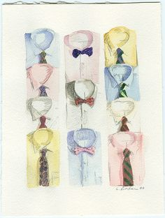 """""""He took out a pile of shirts and began throwing them, one by one, before us. shirts with stripes and scrolls and plaids in coral and apple-green and lavender and faint orange, and monograms of Indian blue. Watercolor Print, Watercolor Paintings, Watercolours, Gouache, Before Us, Artsy Fartsy, Fashion Art, Illustration Art, Sketches"""