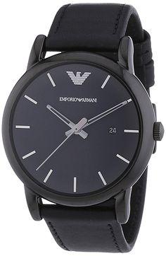 1e054ce75d03 Montre Emporio Armani Homme AR1732 - Cadran Acier inoxydable Noir -  Bracelet Cuir Noir - Quartz
