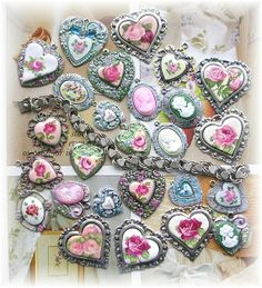 Art Mosaic Heart Charms Cameos used for part of my charm bracelet on Ebay APRIL 2014 Spring~Summer Jewelry! Shabby Chic Roses Hand painted Flowers Clay Pendants Crystals Vintage Charm Bracelet »-(¯`v´¯)-»