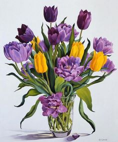 Christopher Ryland SBA (b.1951) —  Tulips in a Glass Vase  (746x900)
