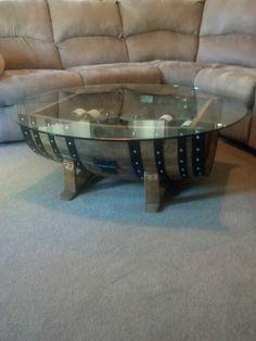 wine barrel coffee table glass top corkwinebarrelfurniture