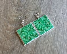 Green Portuguese antique tiles replica earrings tile by XTory