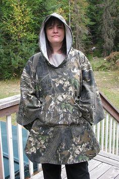 Camouflage Hooded Poncho Sweatshirt Fabric Mossy by adfabinidaho, $50.00
