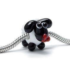 Beads Modul - Glas-Bead - weißes Schaf mit rotem Herz - 609