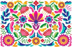 Mexican flat design abstract floral back. Design Plat, Art Design, Folk Art Flowers, Flower Art, Art Floral, Mexican Pattern, Mexican Flowers, Posca Art, Mexican Embroidery