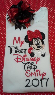 e7521cdd837b5 My First Disney Trip shirt with glitter and sparkle fabric also personalize  with name and year