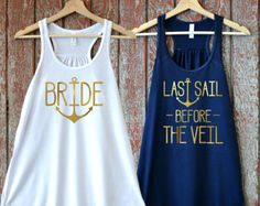 Nautical Bachelorette Party Shirts Brides Crew Last Sail Before