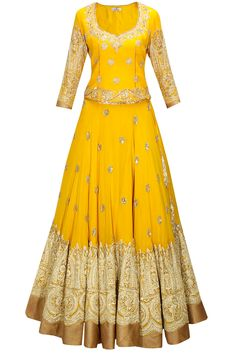 Mustard zari and resham embroidered lehenga set available only at Pernia's Pop-Up Shop.