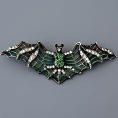 Antique Art Nouveau Plique-A-Jour Diamond and Green Garnet Bat Pin