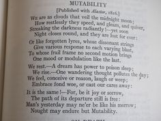 Mutability by Percy Bysshe Shelley, an absolute favourite! Romanticism Literature, Slam Poetry, Mary Shelley, Reading Rainbow, Golden Rule, Reading Material, My Journal, Poetry Quotes, Journal Inspiration