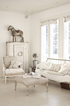 Living Room Whitewashed chippy shabby chic french country rustic swedish decor Idea.  ***Pinned by oldattic ***.