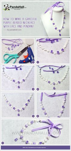 How to Make a Graceful Purple Beaded Necklace with Lace and Pendant