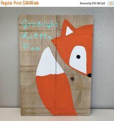 On SALE Goodnight clever little fox sign, fox nursery sign, fox decor, fox pallet, woodland animal, woodland nursery, nursery decor baby sho