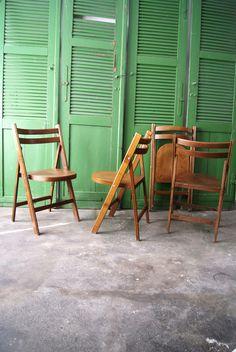 New Vintage St hle Klappstuhl Holz ein Designerst ck von mele pele bei DaWanda