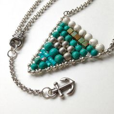 Anchor Necklace Nautical Chevron Flag Genuine Turquoise Silver Beads Anchor Charm November Birtstone