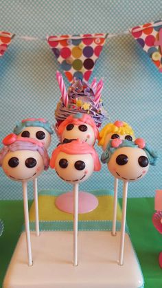 Fun cake pops at a LaLaloopsy birthday party! See more party ideas at CatchMyParty.com!