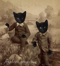 Black Cat Art, Mixed Media Collage Print, Kitten Boys, Altered  Portrait of Twin Brothers, Halloween Decoration