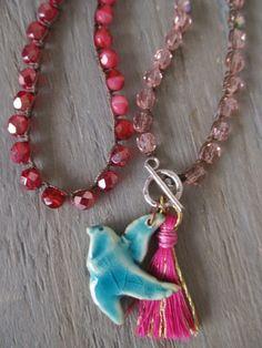 Pink ombre crochet necklace Spring Sparrow aqua di slashKnots, $56.00
