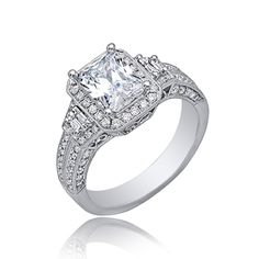 GIA Certified Diamond Engagement Ring 18k White Gold 2.45 Carat Radiant Cut #DiamondsByElizabeth #SolitairewithAccents