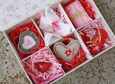 a pretty box with little gifts - soap, sachet, chocolate, small picture frame...for Valentine's Day, Christmas, Birthday, or just because.