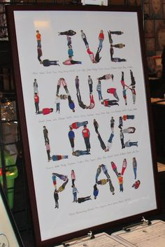 Live Laugh Love Play! - Silent Auction Idea - Teacher had each student lay down on a white sheet to form the letters in each word. Then she got up on a ladder and shot the photo looking down on them. Then she created this poster using Shutterfly.