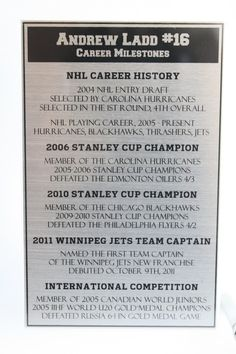 This a close-up of the engraved plaque that accompanies our Andrew Ladd, Winnipeg Jets trading card display.