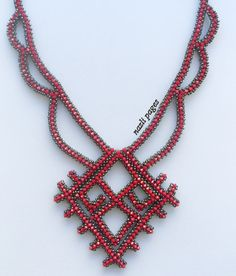 Necklace  Beaded Necklace  Red Crystal Necklace  Red by NAZLIPAGES