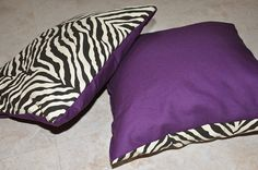 zebra stripe and purple pillow set by Joannna89 on Etsy, $24.00