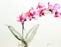 """Contemporary - """"Orchid study I"""" (Original Art from Karin Johannesson)"""