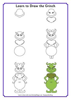 Learn to Draw the Grinch - Learn to draw the Grinch with this fun printable step by step tutorial. Dr Seuss fans will enjoy this activity any time, but of course it is particularly appropriate at Christmas.