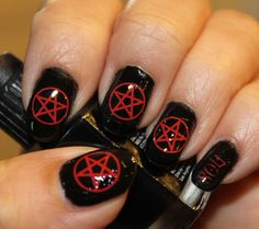 Free Shipping - 66 RED PENTACLE Nail Art (PNR) - Opaque Waterslide Decals Not Stickers or Vinyl - Wiccan Gothic Pentagram
