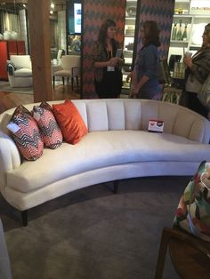 THE GARDENA SOFA BY @kravet IS LOVELY WITH IT'S CURVED PROFILE AND CHANNEL BACK, IN YOUR FABRIC OR THEIRS, IT'S SURE TO LEND ELEGANCE TO ANY ROOM! #HPMKTSS 2015 FALL Channel tufting is definitely a trend at market for 2016