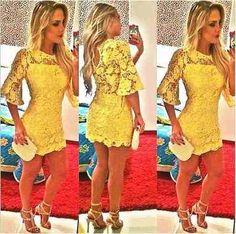 vestido mini amarelo em renda curto sexy festa balada