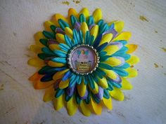 Fabric Flower Feather Hair Clip Purple Yellow Teal by SweetieBeads, $12.00