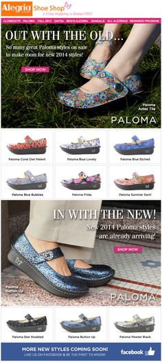 Out with the Old Palomas and in with the New! We are making way for the Spring 2014 Alegria Palomas already arriving. | Alegria Shoe Shop  #AlegriaShoes #Spring