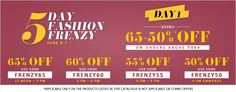 5 Days Fashion Frenzy at #Jabong – Get Extra 65% to 50% #discount on all Orders above Rs 999. Shop for #Fashion Accessories, #Clothing, #Shoes, #Jewellery, #Bags, Home & #Furniture and #Sports products.