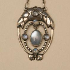 Gallery 925 - Georg Jensen Very Rare Pendant with Moonstones, no. 8, Handmade Sterling Silver. Circa 1915