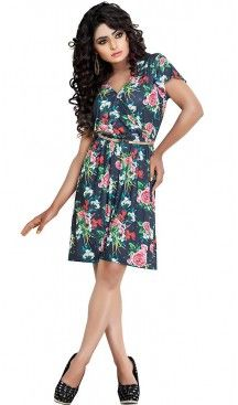 Slate Gray Color Lycra Western Wear Readymde Dresses For Ladies | FH437369240