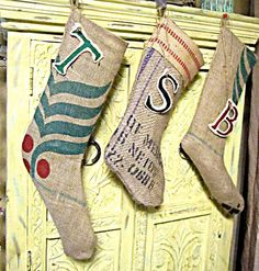 christmas stockings from coffee sacks..this should be our stockings at work!