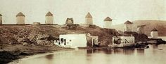 Windmills in Mykonos in 1901 (photo D. Stavropoulos).