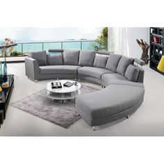 Shop for Velago Rossini Round Fabric Sectional Sofa. Get free delivery On EVERYTHING* Overstock - Your Online Furniture Shop! Round Sectional, Round Couch, Fabric Sectional, Leather Sectional Sofas, Sofa Couch, Gray Sectional, Sectional Ottoman, Couches, Curved Sofa