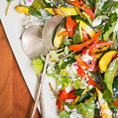 Grilled Curry Zucchini, Red Bell Pepper & Arugula Salad with Yogurt Dressing.