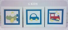 QUADRO PROVENÇAL COLORIDO, Decoração de quarto bebê, kit quadros provençal, quadros brinquedos, quadros brinquedos coloridos, enfeite de quarto de menino, #room, #decor, #baby  www.gkids.com.br