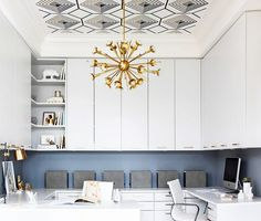 how to keep a home office totally glam. love that ceiling detail!!!