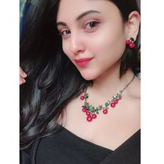 Wearing this beautiful Cherry 🍒earing n necklace from Cute Girl Poses, Cute Girls, Cute Girl Wallpaper, Stylish Girl Images, Girls Dpz, Bollywood Celebrities, Cute Faces, Cute Casual Outfits, Indian Beauty