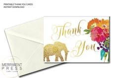 Indian Themed Thank You Card // Elephant Thank You // Folded Thank You // A7 // Gold // flowers // Instant Download // JAIPUR COLLECTION by MerrimentPress on Etsy https://www.etsy.com/listing/536692551/indian-themed-thank-you-card-elephant