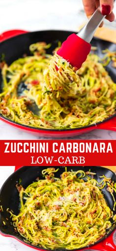 Low carb zucchini carbonara a healthier low carb alternative of a popular italian dish made with spiralized zucchini bacon eggs and parmesan low calorie gluten free light flavorful and delicious vegan avocado pesto Zucchini Carbonara, No Calorie Foods, Low Calorie Recipes, Diet Recipes, Cooking Recipes, Healthy Recipes, Low Carb Zuchinni Recipes, Zucchini Dinner Recipes, Low Carb